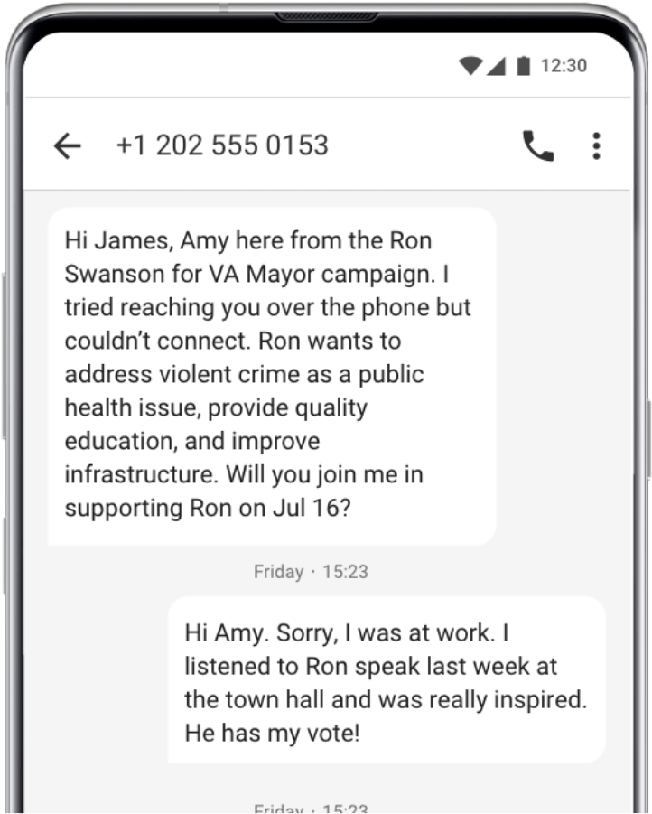 Sms follow up from call center software