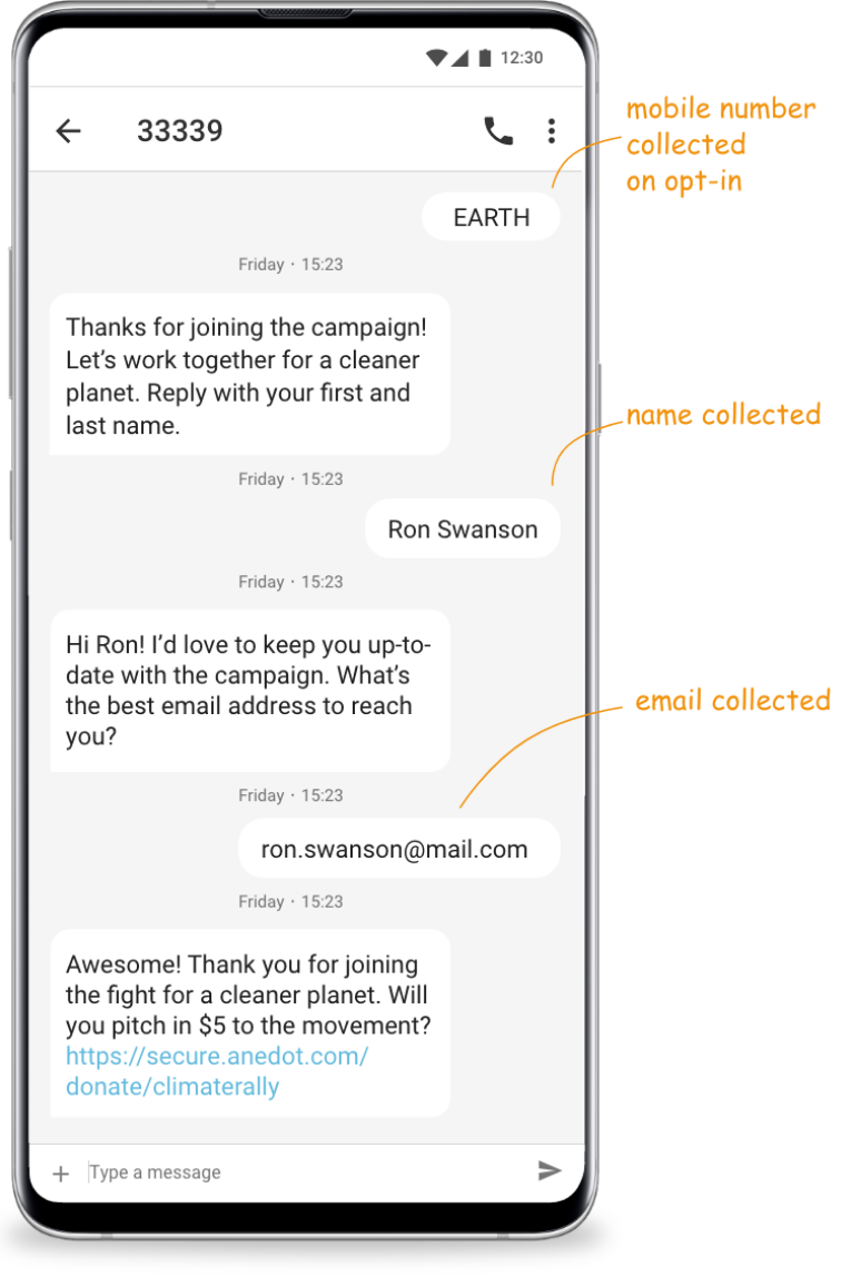 SMS marketing opt in text messaging flow